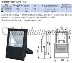 Прожектор металлогалогенный MHF-150