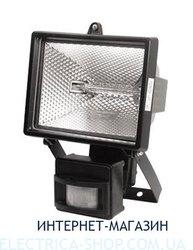 Прожектор под галогеновую лампу с датчиком движения Delux 500W цвет-черный IP54